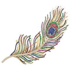 "Diamond, Sapphire and Emerald ""Peacock Feather"" Brooch and Pendant Necklace"