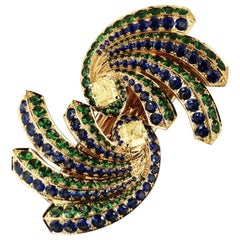 """Peacock"" GIA Certified Yellow Diamond, Sapphire & Tsavorite Brooch or Hairclip"