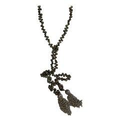 Peacock Green Cultured Drop Pearls Baroque Pearls Citrine Tassel Lariat Necklace
