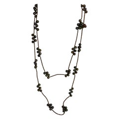 Peacock Green Cultured Pearls Copper Plated Hematite 925 Silver Long Necklace