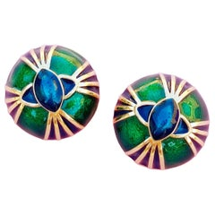 Peacock Green Enamel Domed Art Deco Snake Eyes Earrings by Joan Rivers, 1990s