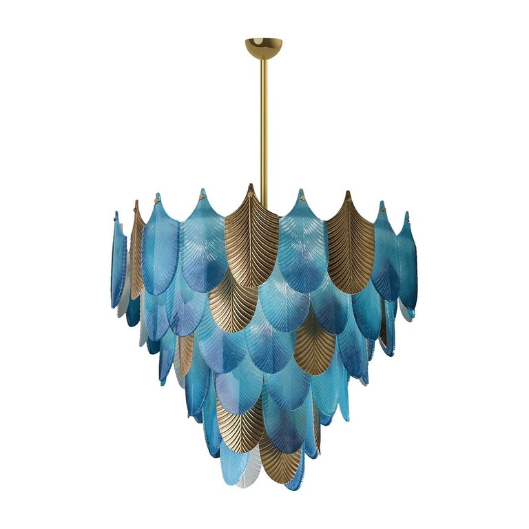 Peacock Large Blue Chandelier For Sale