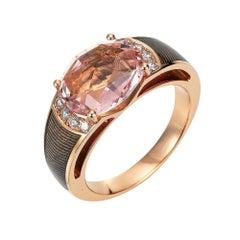 Victor Mayer Peacock Light Grey Enamel Ring in 18k Rose Gold 8 Diamond