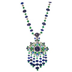Peacock Necklace in 18 Karat Gold, Emeralds, Blue Sapphires and Diamonds