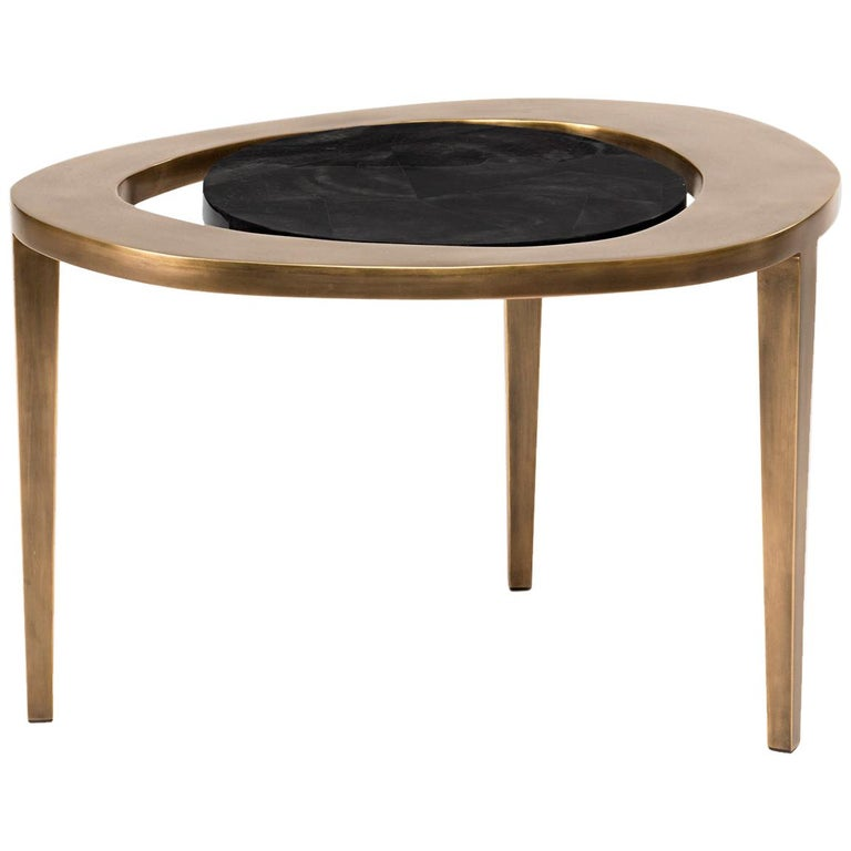 Peacock Nesting Coffee Table in Black Pen Shell and Brass by R&Y Augousti For Sale