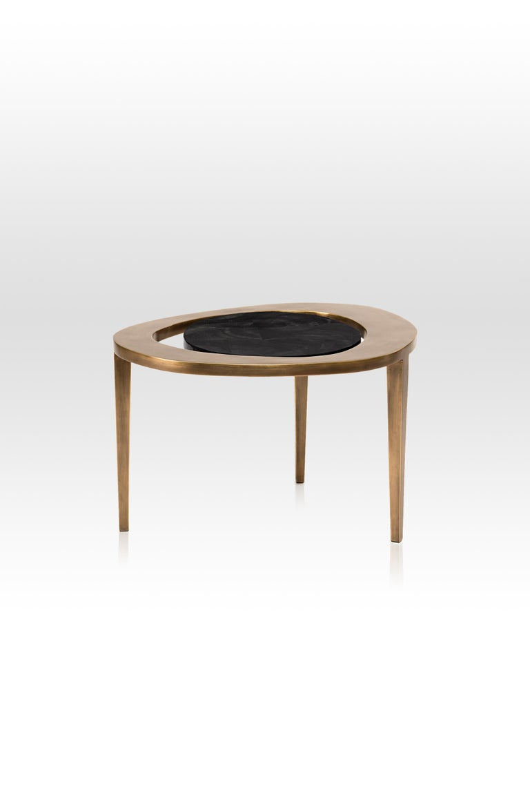 French Peacock Nesting Coffee Table in Cream Shagreen and Brass by R&Y Augousti For Sale