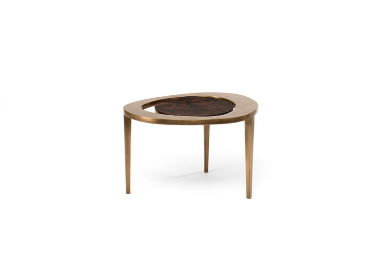 Hand-Crafted Peacock Nesting Coffee Table in Cream Shagreen and Brass by R&Y Augousti For Sale