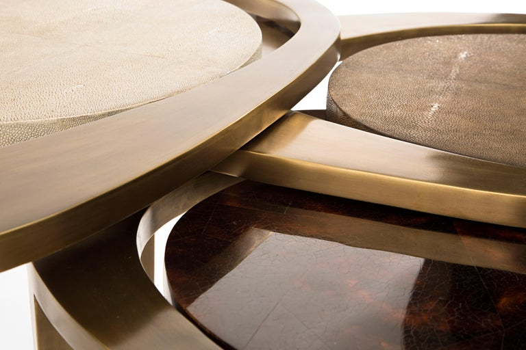 Contemporary Peacock Nesting Coffee Table in Cream Shagreen and Brass by R&Y Augousti For Sale