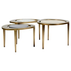 Peacock Nesting Coffee Table in Cream Shagreen and Brass by R&Y Augousti