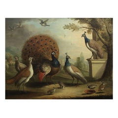"""""""Peacock & Peahens in Classical Landscape"""" Painting attr. Marmaduke Cradock"""
