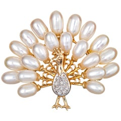 Peacock Pendant Brooch Diamond Freshwater Pearl Feathers 14k Gold Vintage Bird