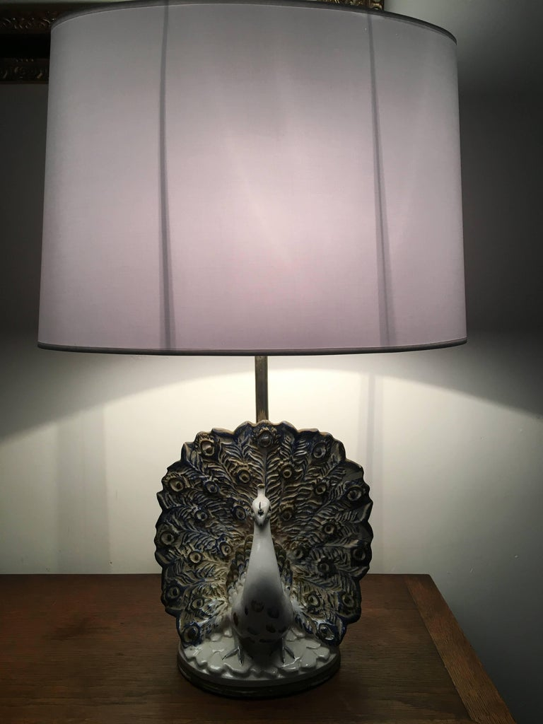 French Peacock Table Lamp in Ceramic For Sale