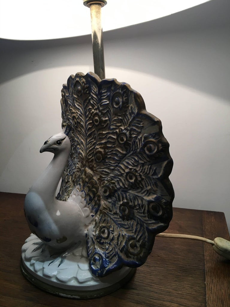20th Century Peacock Table Lamp in Ceramic For Sale