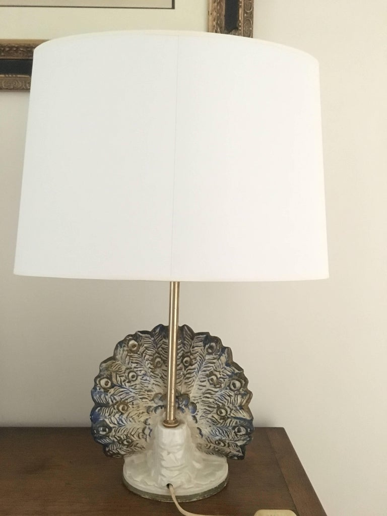 Peacock Table Lamp in Ceramic For Sale 1