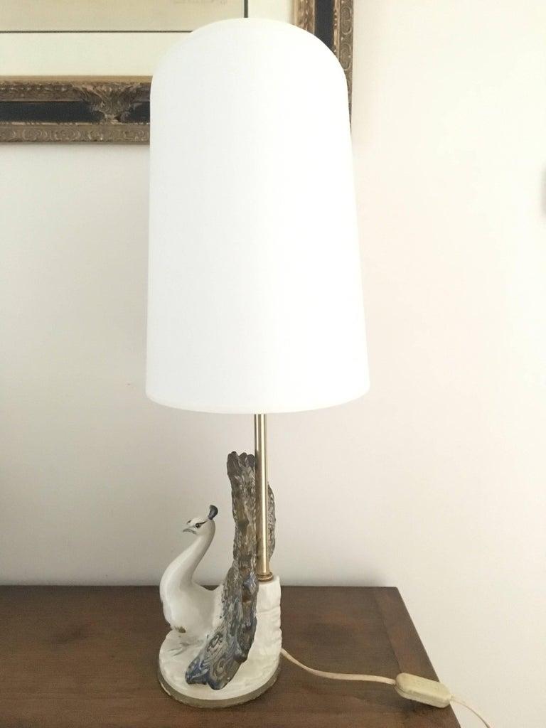 Peacock Table Lamp in Ceramic For Sale 2