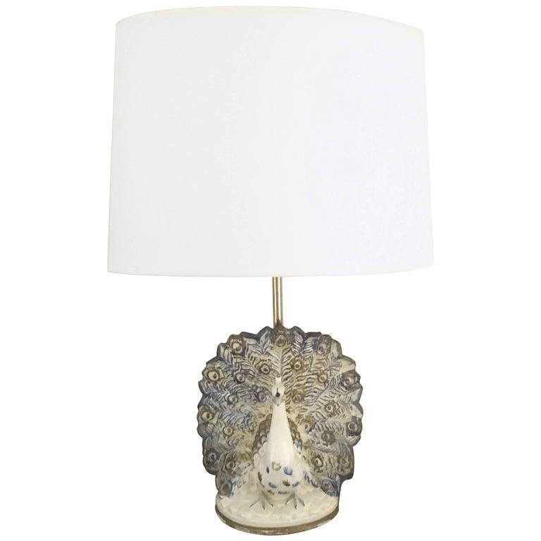 Peacock Table Lamp in Ceramic For Sale