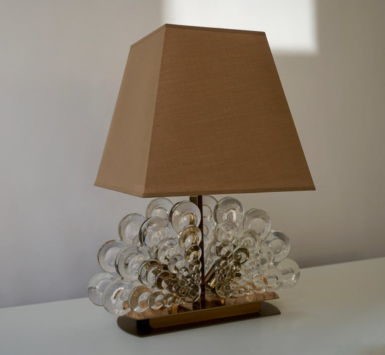 20th Century Peacock Table Lamp in Glass and Brass For Sale