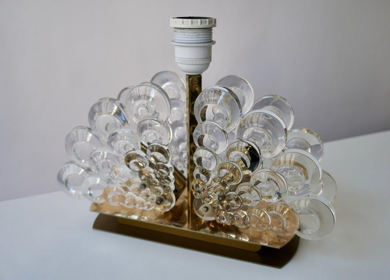 Peacock Table Lamp in Glass and Brass For Sale 3
