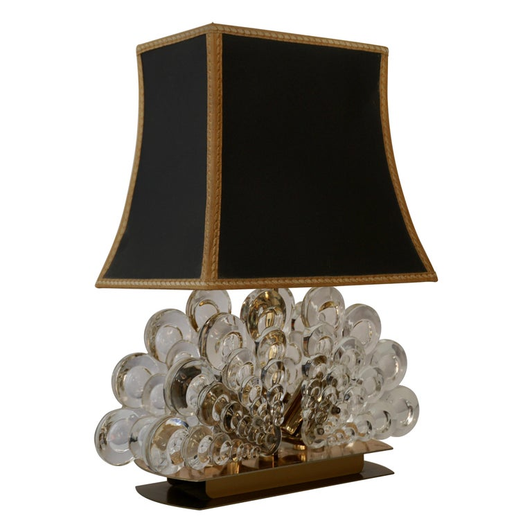 Peacock Table Lamp in Glass and Brass For Sale