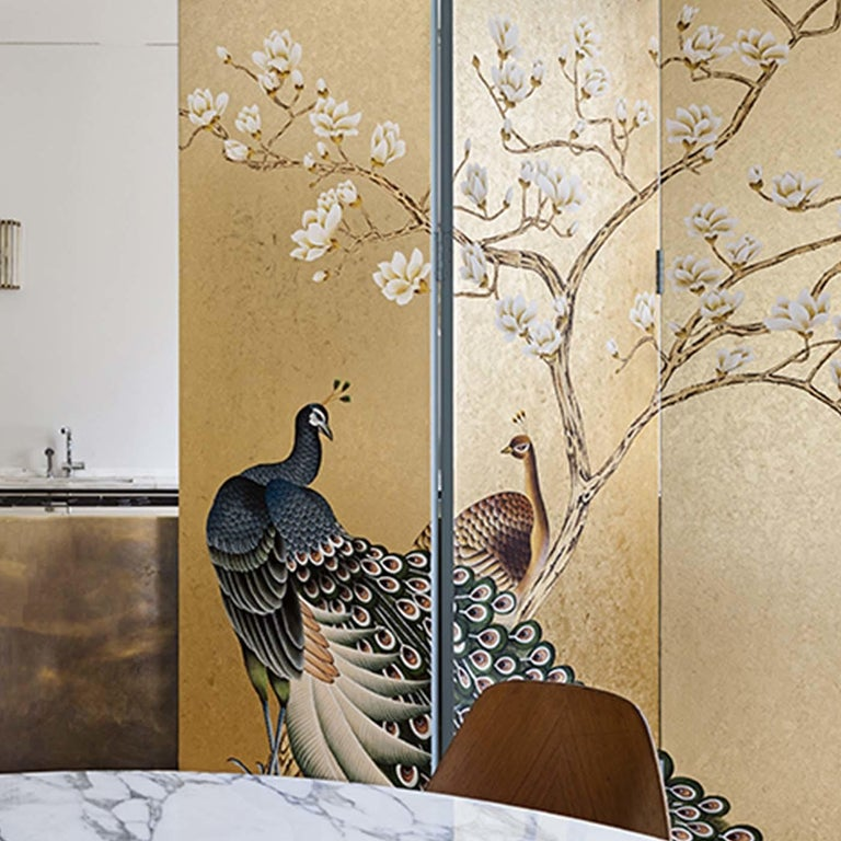 This superb wallpaper is a stunning example of exquisite craftsmanship and elegant design, a perfect complement to a sophisticated eclectic interior. This single sheet is hand painted on a background of Japanese silk in Kiniro 002 hue and boasts a