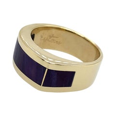 """""""Peaky"""" Band or Pinkie Ring in Yellow Gold with Polished Sugilite Banners"""