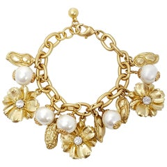 Peanut, Flower, and Faux Pearl Charm Chain Bracelet in Gold, Mid to Late 1900s