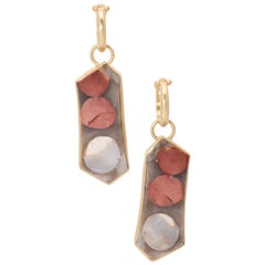 Peanut Wood Drop Earrings in 18 Karat Gold