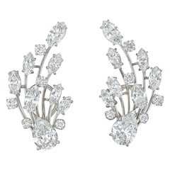 Pear and Marquise Cut Diamond Earrings
