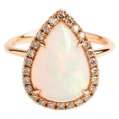 Pear and Opal Diamond Dress Ring, 18 Carat Rose Gold, Hallmarked London