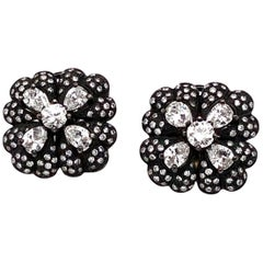 Pear and Round Cut Diamonds 4.98 Carat Smoke Black Square Platinum Earrings
