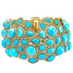 Turquoise, Emerald and Diamond Contemporary Bracelet in Yellow Gold