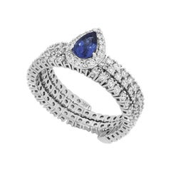 Pear Blue Sapphire Adjustable Ring in 18K White Gold with Diamond