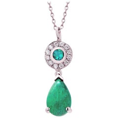 Pear Cabochon Emerald and Diamond Gold Drop Layered Necklace Pendant