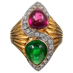 Pear Cabochon Green and Pink Tourmaline Ring with Diamonds