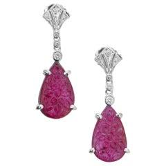 Pear Carved Ruby Diamond Gold Art Deco Dangle Earrings