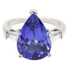 Pear Cut 7 Carat Tanzanite 0.30 Carat Diamond Engagement Solitaire Ring Platinum