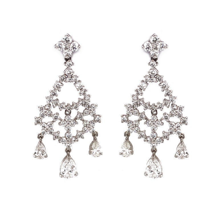 Pear Cut and Round Diamonds 5.32 Carat Platinum Earrings In New Condition For Sale In New York, NY