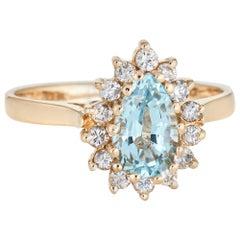 Pear Cut Aquamarine Diamond Ring Cocktail Vintage 14 Karat Yellow Gold Jewelry