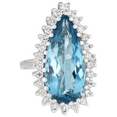 Pear Cut Aquamarine Diamond Ring Large Cocktail Vintage 18 Karat Gold Jewelry