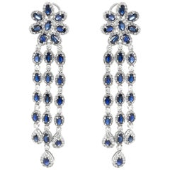 Ceylon Pear Cut Blue Sapphires 20.55 Carat Diamond 18k Gold Earrings