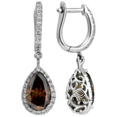 Pear Cut Chocolate Brown Diamond Earrings