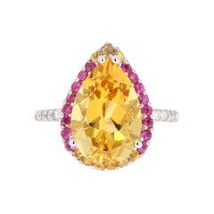6.25 Carat Pear Cut Citrine Sapphire and Diamond 14 Karat White Gold Ring