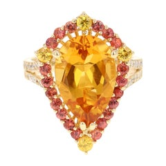 6.52 Carat Pear Cut Citrine Sapphire and Diamond 14 Karat Yellow Gold Ring