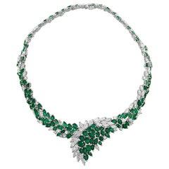 Pear Cut Colombian Emerald and Diamond Bridal Princess Necklace Platinum