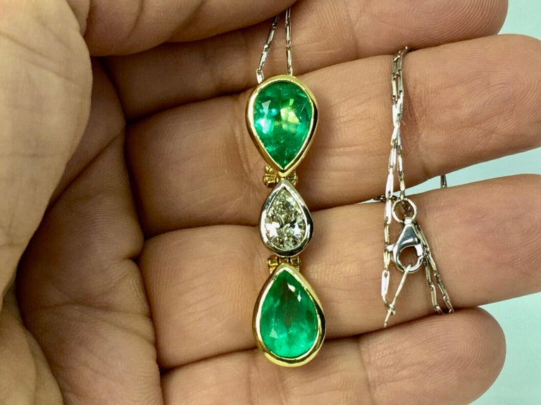 Fine Quality Colombian Emeralds and Diamonds 100% Natural The Incredible Emerald and Diamond Pendant feature 2 natural Colombian Emeralds weighing 5.50 carat, Pearl Cut. Fines quality in color and in clarity. Pearl Cut Diamond 1.15 carat, Color J -