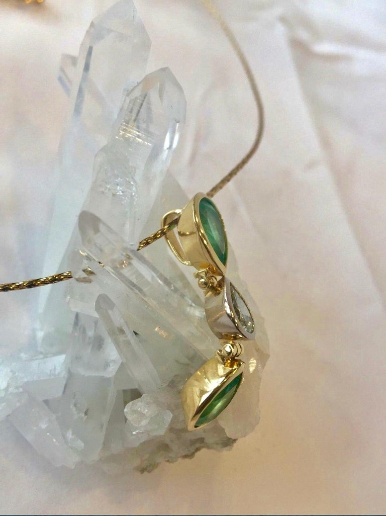 6.65 Carat Colombian Emerald Diamond Pear Cut Pendant 18K Gold In New Condition For Sale In Brunswick, ME