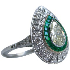 Pear Cut Diamond and Emerald Halo Ring Engagement Ring in Platinum, 2.45 Carat
