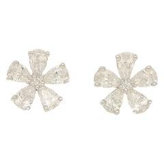 Pear Cut Diamond Flower Cluster Stud Earrings Set in 18 Karat White Gold