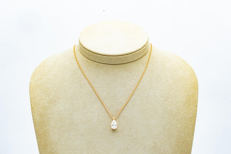 Pear cut diamond pendant mounted on 18 karat rose gold GIA  Pear cut diamond 1.810 carats mounted on 18 karat rose gold with its chain.  Shape : P Color : G  Clarity: SI2