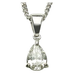Pear-Cut Diamond Platinum Pendant with Chain
